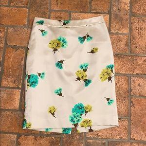 J.Crew Gorgeous Satin Floral pencil skirt